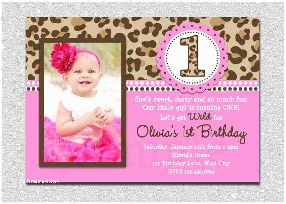 1st Birthday Invitations Girl Leopard Birthday Invitation 1st Birthday Party Invitation