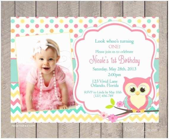 1st Birthday Invitations Girl Owl Birthday Invitation First Birthday Girl Teal Pink