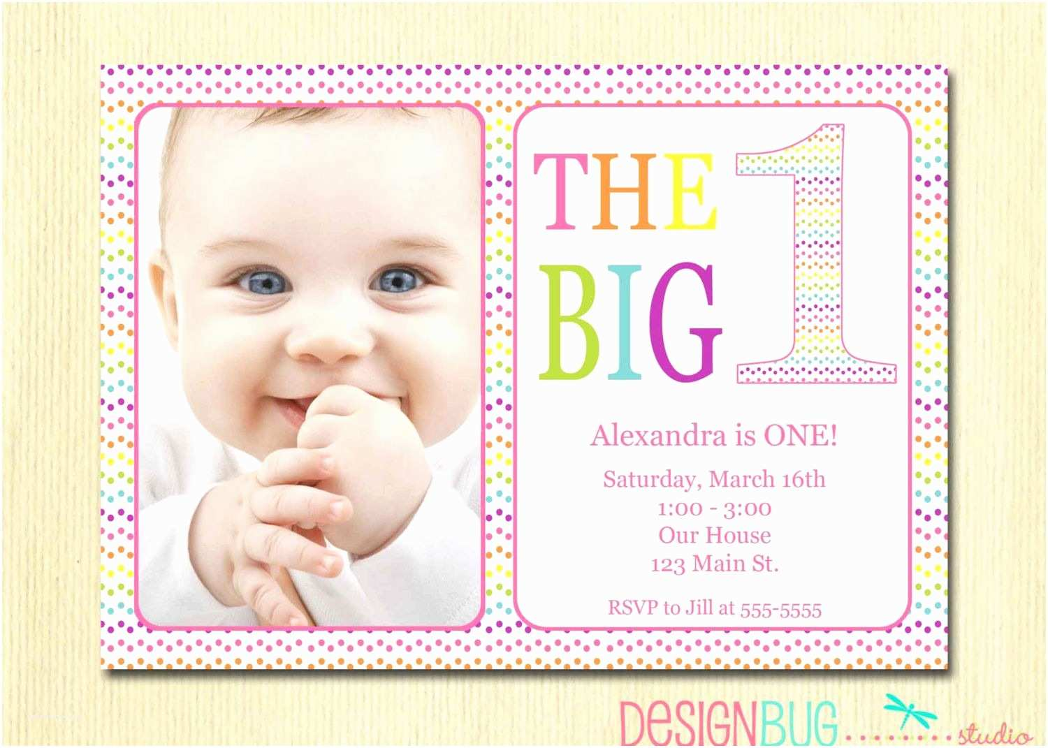 1st Birthday Invitations Girl Rainbow First Invitation Baby Diy