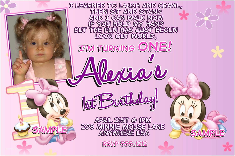 1st Birthday Invitations Minnie Mouse 1st Birthday Invitations Printable Digital File