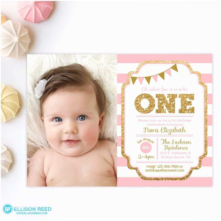 1st Birthday Invitations Pink and Gold Invitation 1st Birthday Invitation Girl