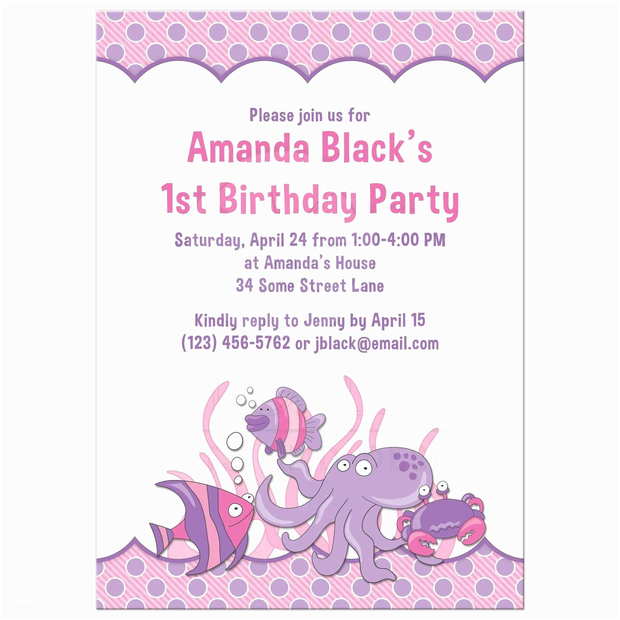 1st Birthday Party Invitations 1st Birthday Invitation Under the Sea Ocean Pink