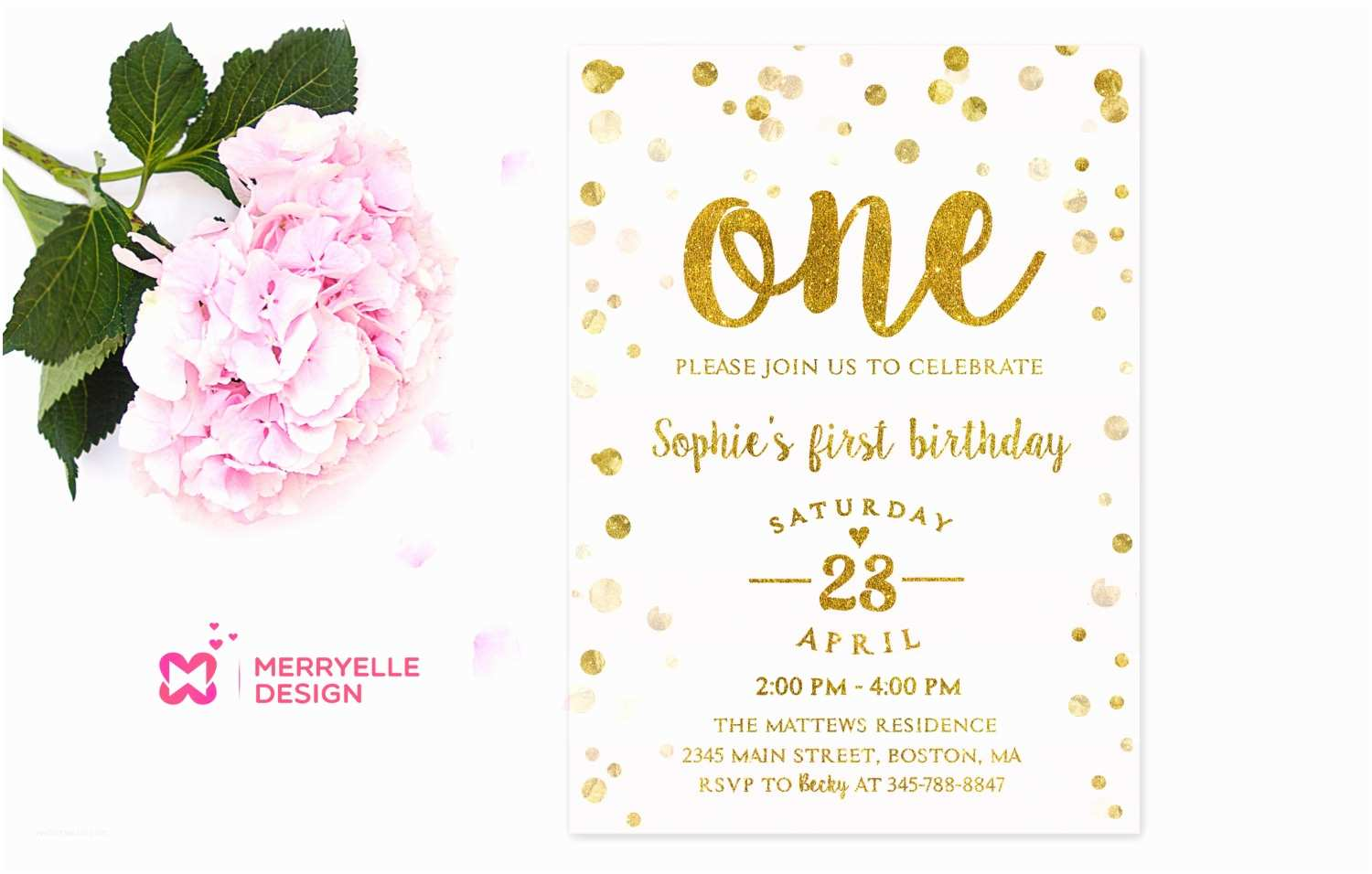 1st Birthday Party Invitations First Birthday Invitation Girl 1st Birthday Girls Party