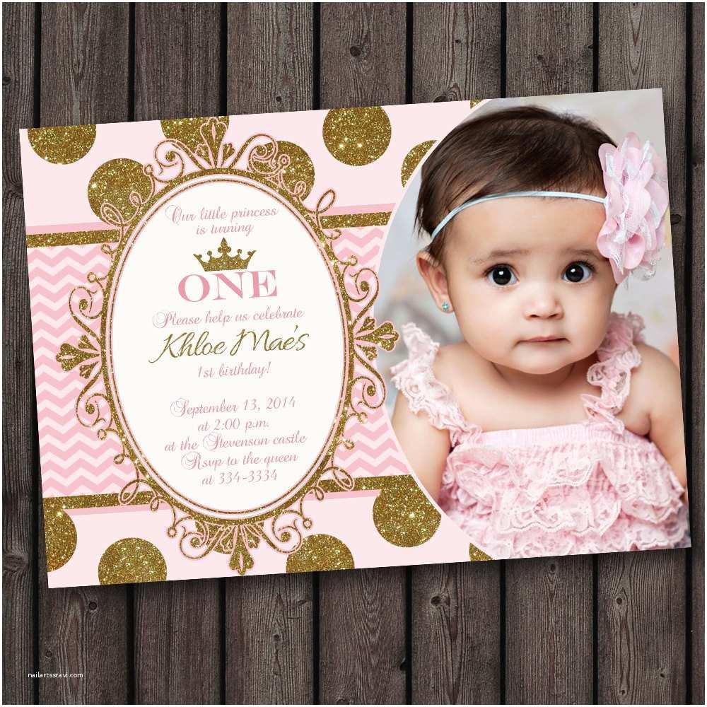 1st Birthday Party Invitations First Birthday Pink and Gold Invitation Princess Invitation