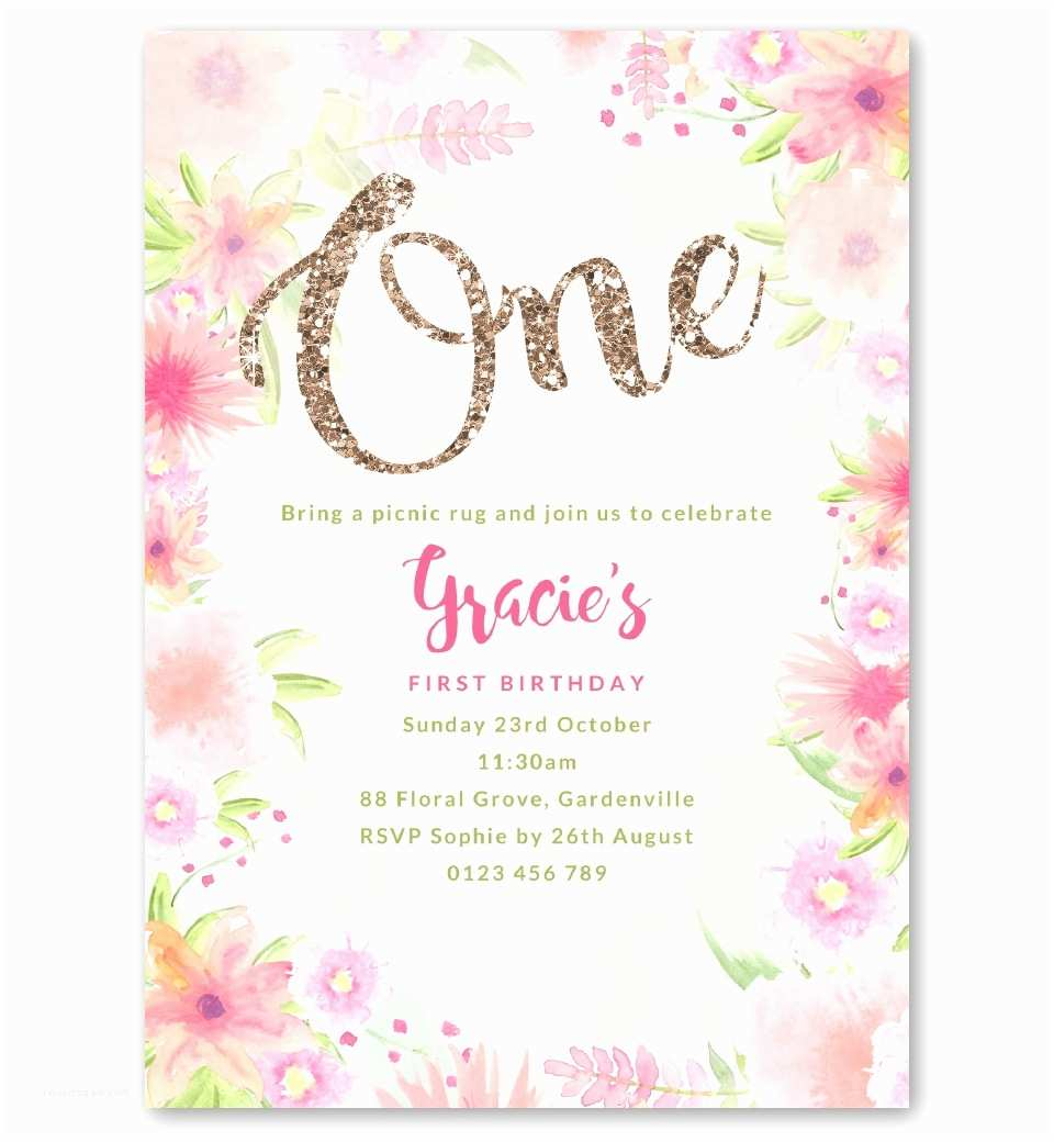 1st Birthday Party Invitations Golden Floral First Birthday Invitation