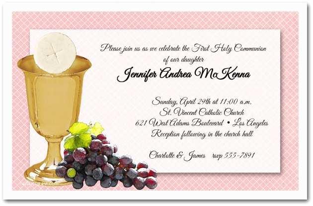 1st Communion Invitations Chalice Wafer & Grapes Girls First Munion Invitations