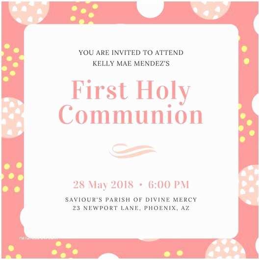 1st Communion Invitations First Munion Invitation Templates Canva