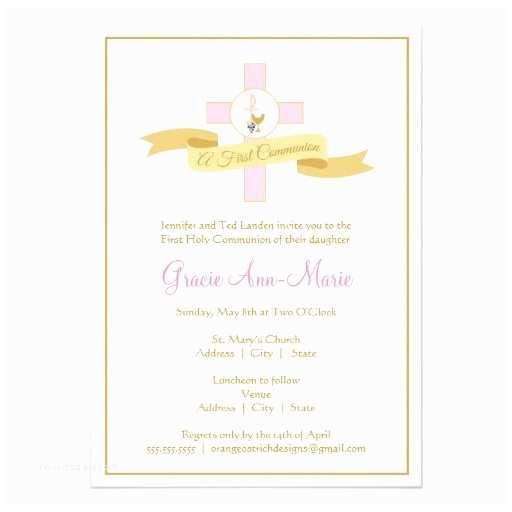 girl first munion invitation pink invitation card