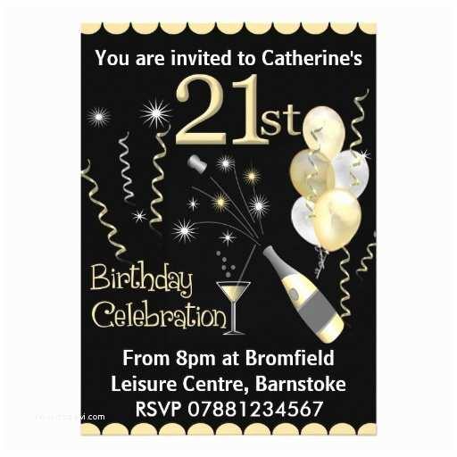"""21 Birthday Invitations 21st Birthday Party Invitations Black & Gold 5"""" X 7"""