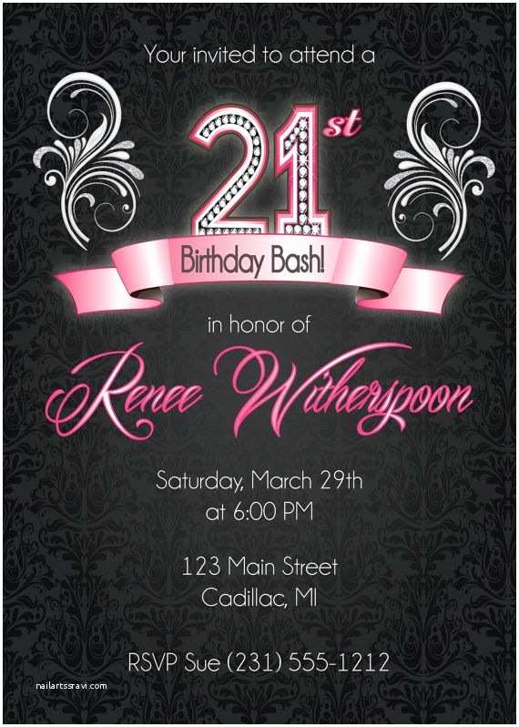 21st Birthday Invitations 21st Birthday Invitation 21st Birthday Party Invitation