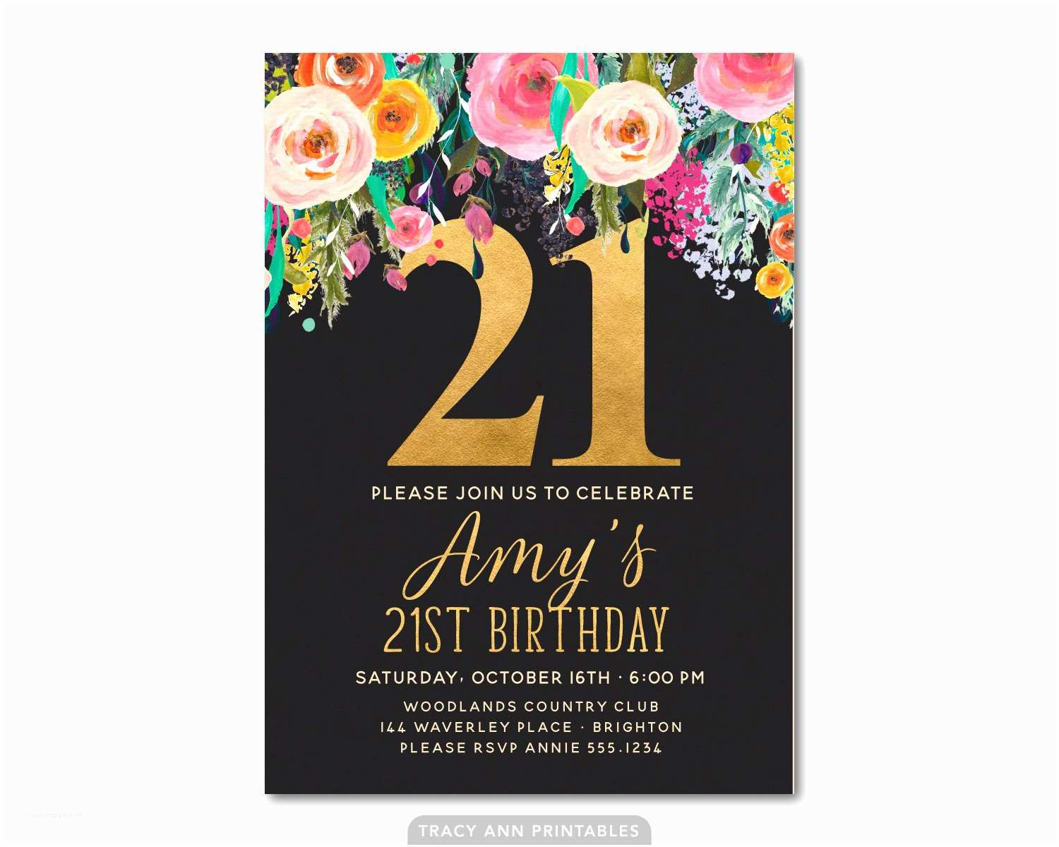 21st Birthday Invitations 21st Birthday Invitation Floral 21st Birthday Invite 21st