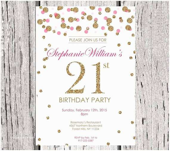 21st Birthday Invitations 21st Birthday Invitation White Gold Glitter Birthday