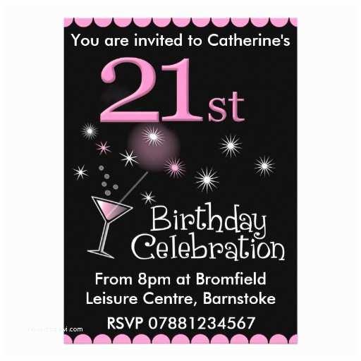 "21st Birthday Invitations 21st Birthday Party Invitation Cocktail Glass 5"" X 7"