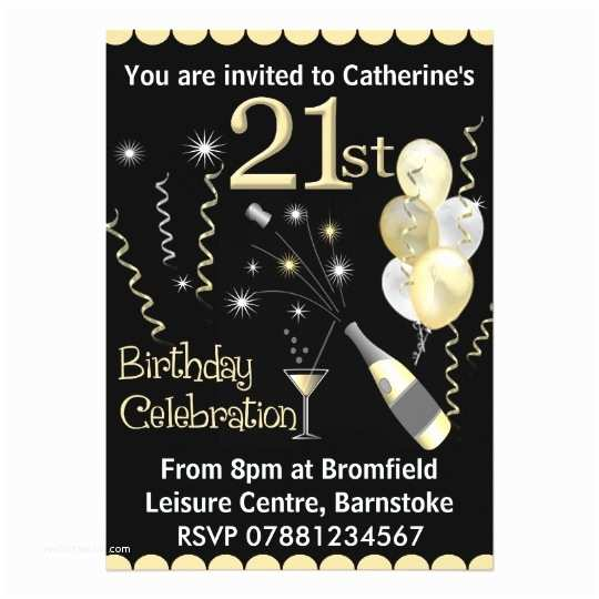 21st Birthday Invitations 21st Birthday Party Invitations Black & Gold