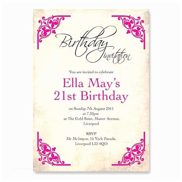 21st Birthday Invitations Girl S Invitation