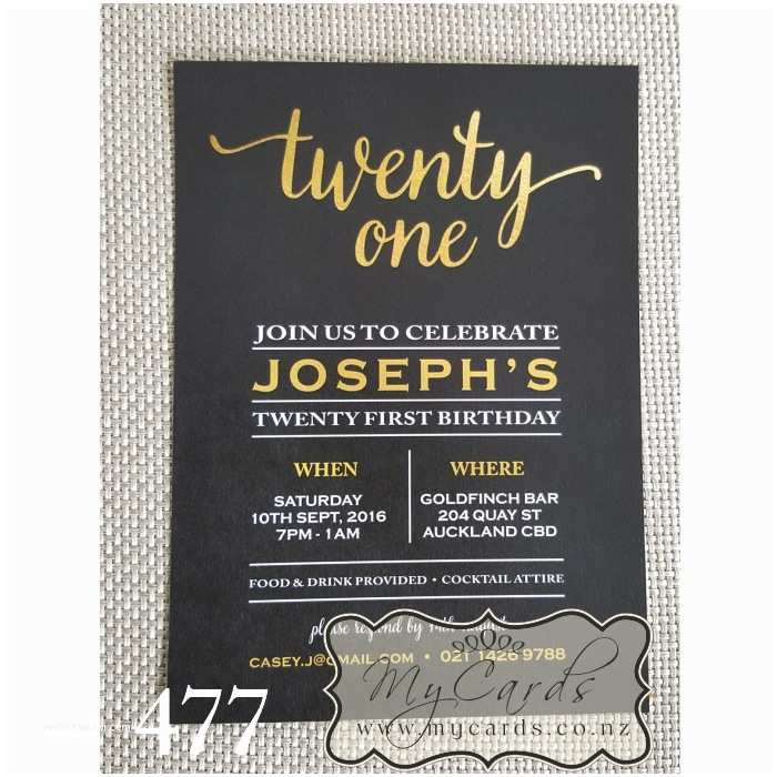 21st Birthday Invitations Gold Foil Black 21st Birthday Invitation