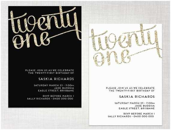 21st Birthday Invitations Printable 21st Birthday Glitter Invitation