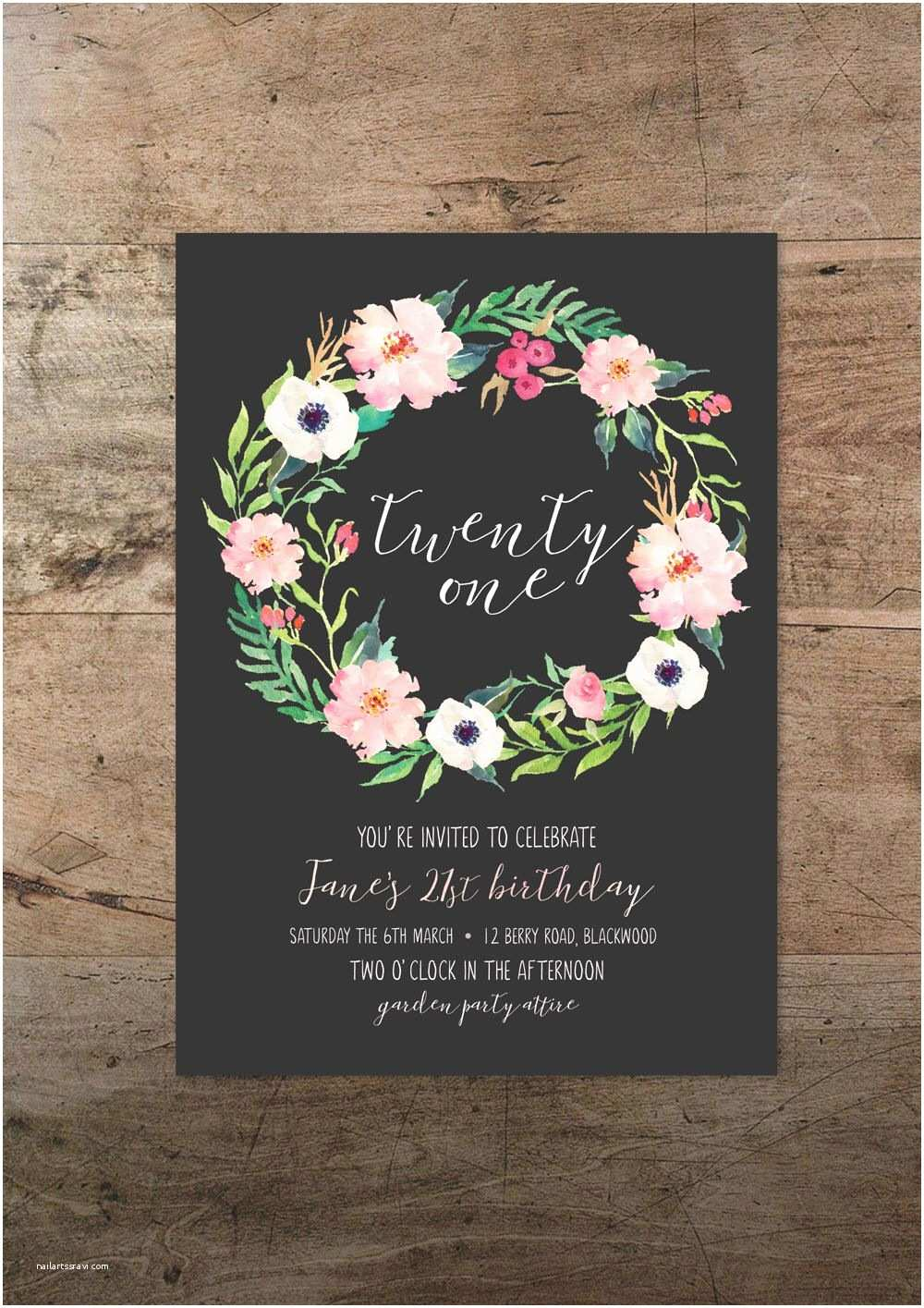 21st Birthday Invitations Twenty First Invitation Floral Twenty One 21st Birthday
