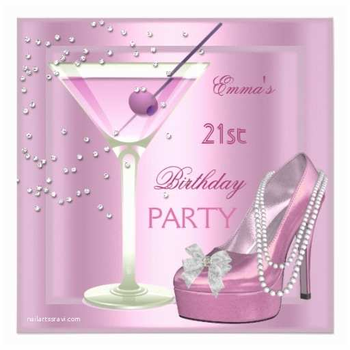 21st Birthday Party Invitations 21st Birthday Party Pink Martini High Heel Shoes 5 25