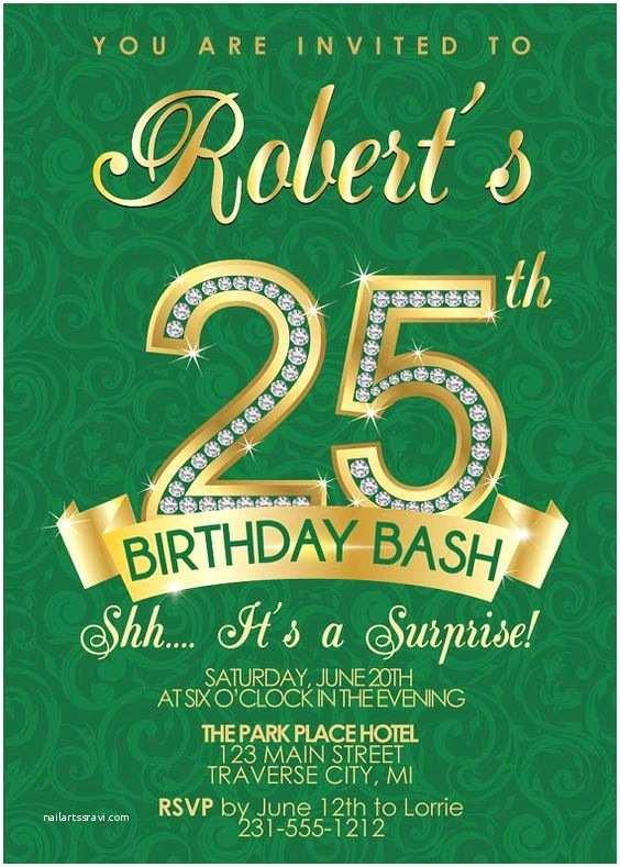25th Birthday Invitations 25th Birthday Invitation Adult Birthday Party Invitation