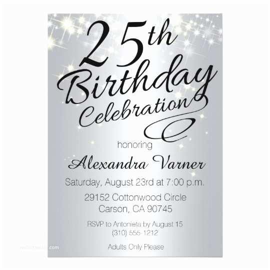 25th Birthday Invitations 25th Birthday Invitations Silver Sparkly Invites