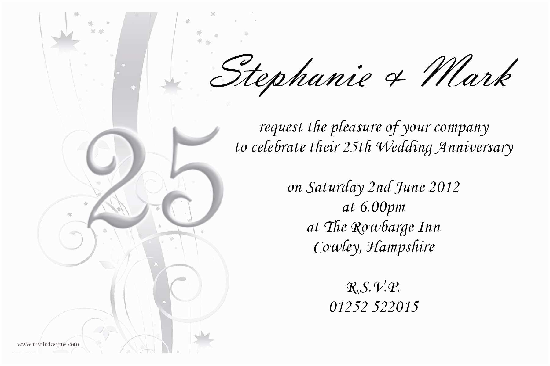amazing 25th wedding anniversary invitations