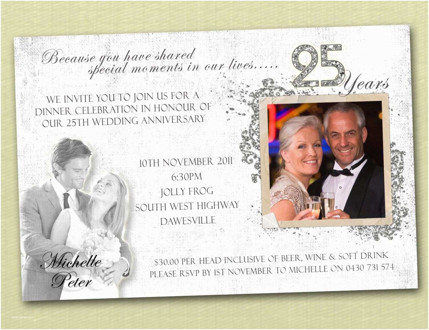 25th Birthday Invitations Anniversary Invitations Free 25th Wedding Anniversary