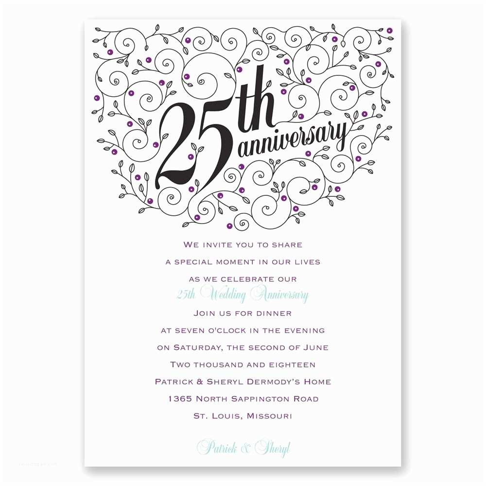 25th Birthday Invitations forever Filigree 25th Anniversary Invitation