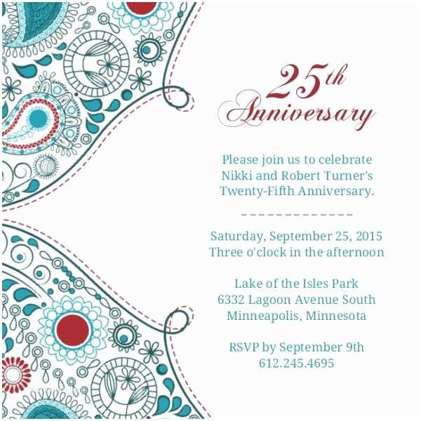 25th Birthday Invitations Paisley Red Anniversary 25th Anniversary Invite