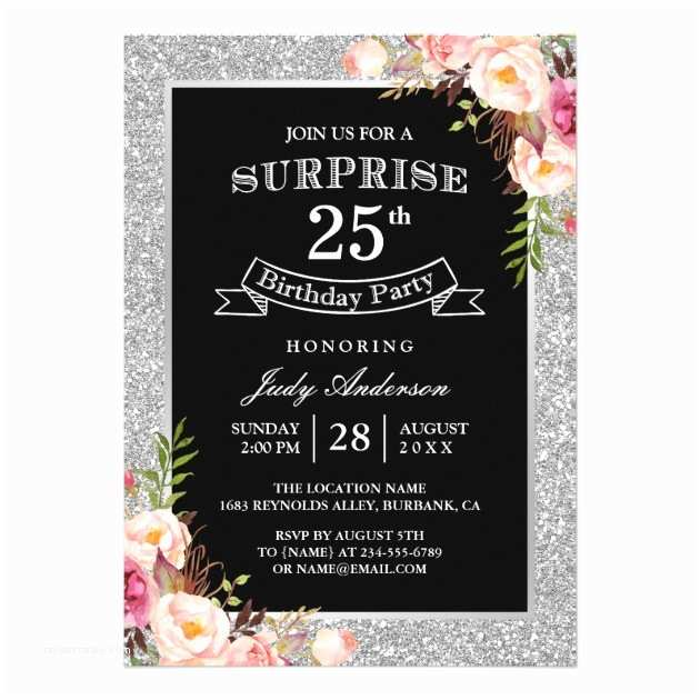 25th Birthday Invitations Personalized 25th Birthday Invitations
