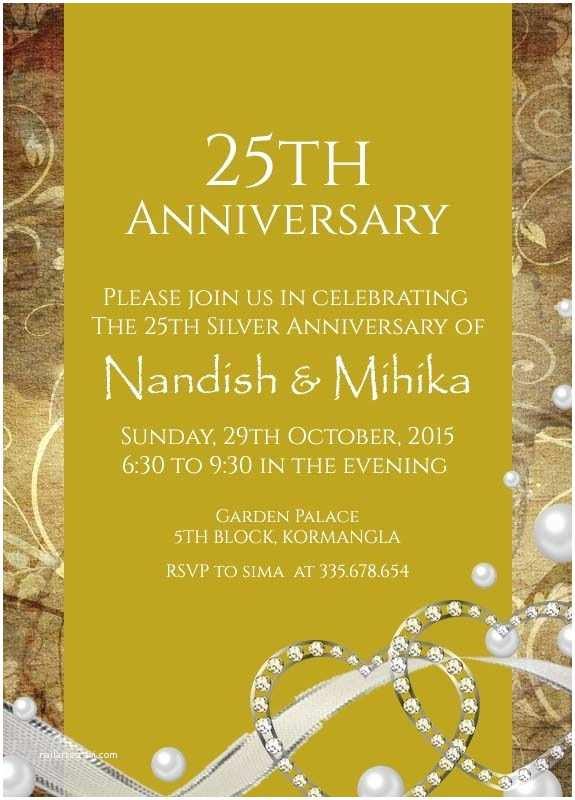 25th Wedding Anniversary Invitation Cards 22 Best 25th Silver Wedding Anniversary Invitation
