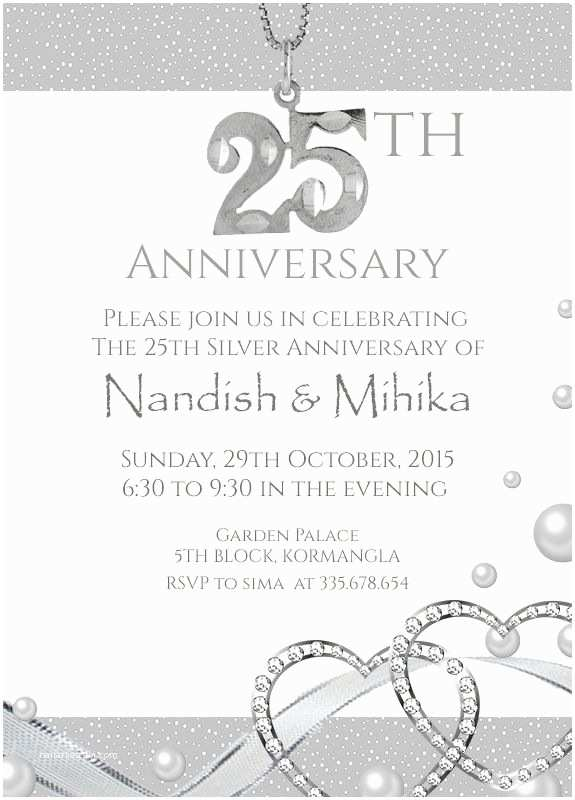 25th Wedding Anniversary Invitation Cards 25th Anniversary Party