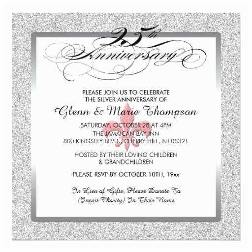 25th Wedding Anniversary Invitation Cards 25th Wedding Anniversary Glitter Invitation