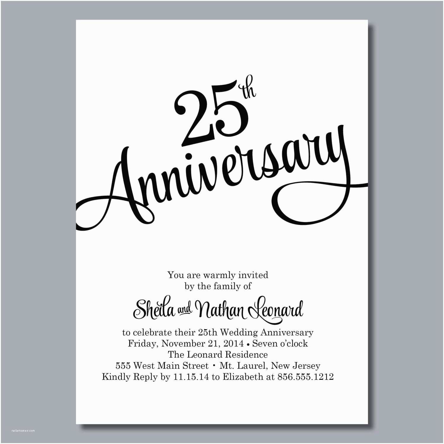 25th Wedding Anniversary Invitation Cards 25th Wedding Anniversary Invites 25th Wedding