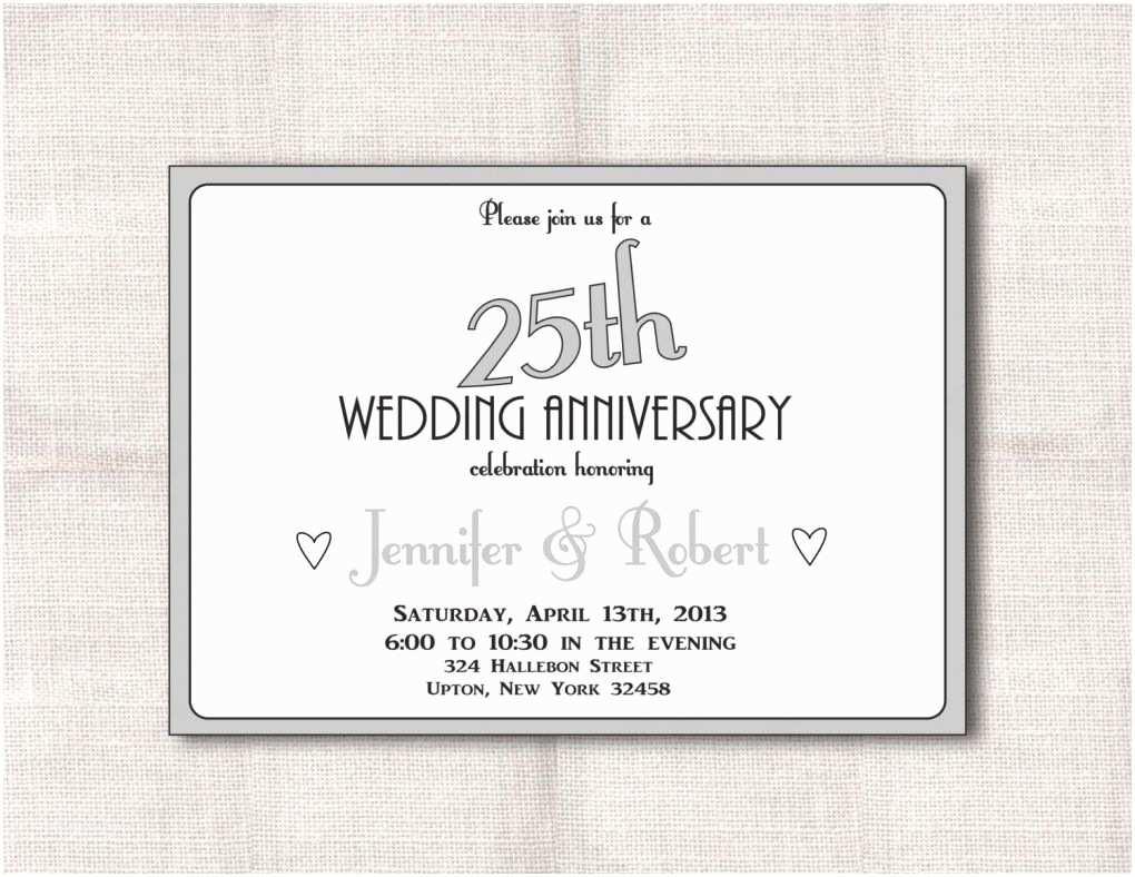 25th Wedding Anniversary Invitation Cards Free 25th Wedding Anniversary Invitations Free Printable