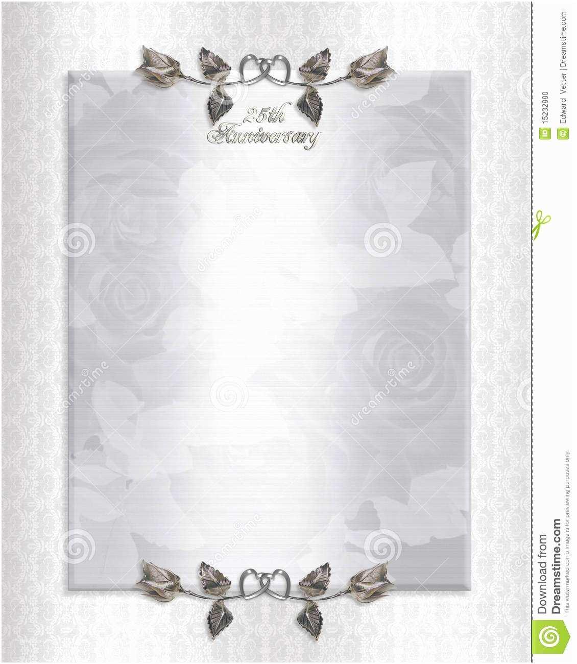 25th Wedding Anniversary Invitation Cards Free Download 25th Anniversary Invitation Templates Free