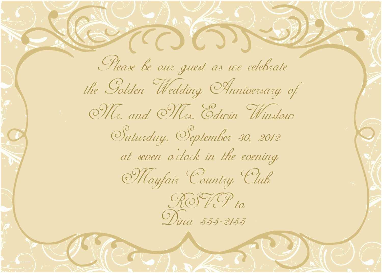 25th Wedding Anniversary Invitation Cards Free Download 50th Wedding Anniversary Invitation By