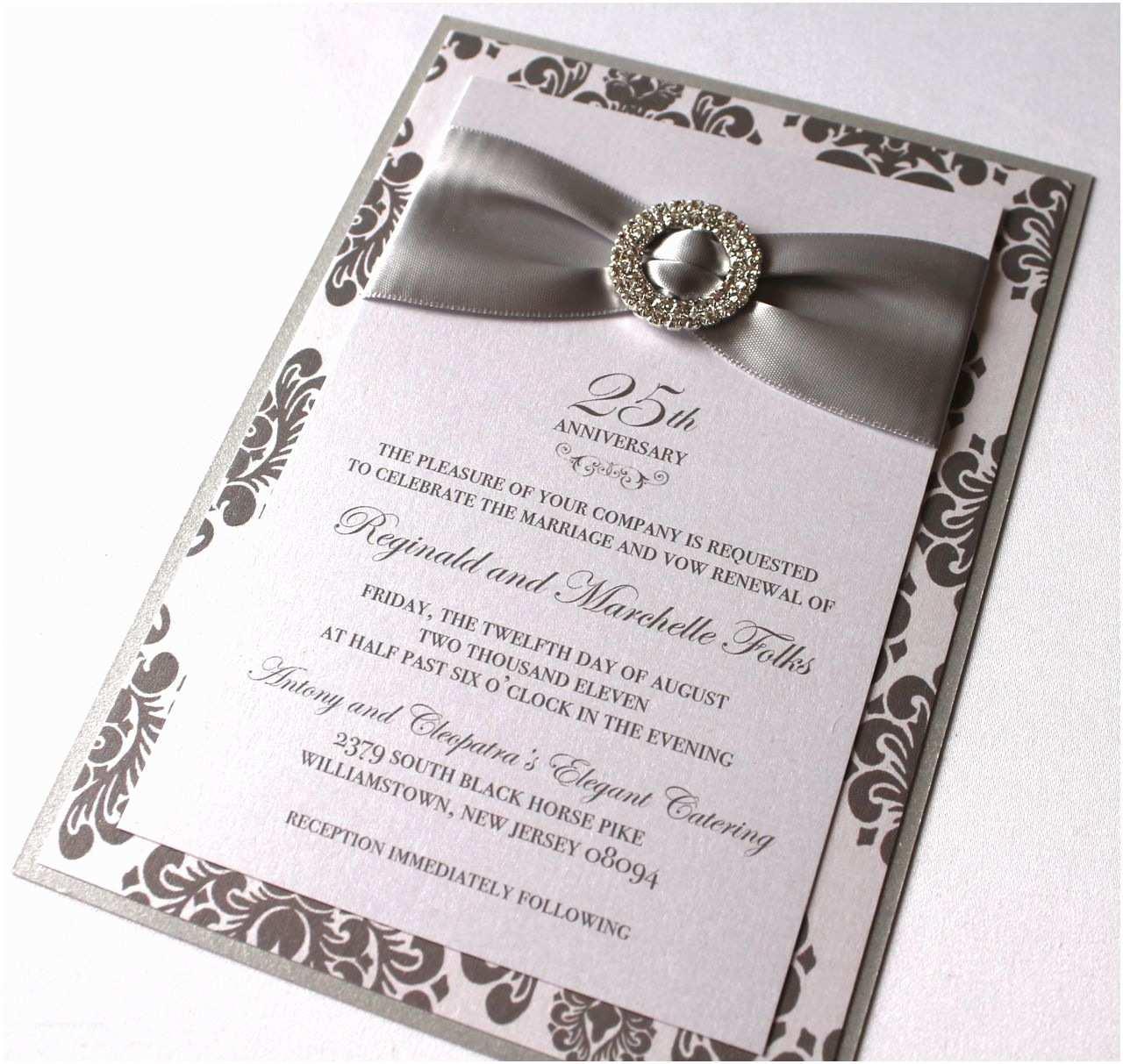 25th Wedding Anniversary Invitations 25th Anniversary Invitations Silver and White Damask