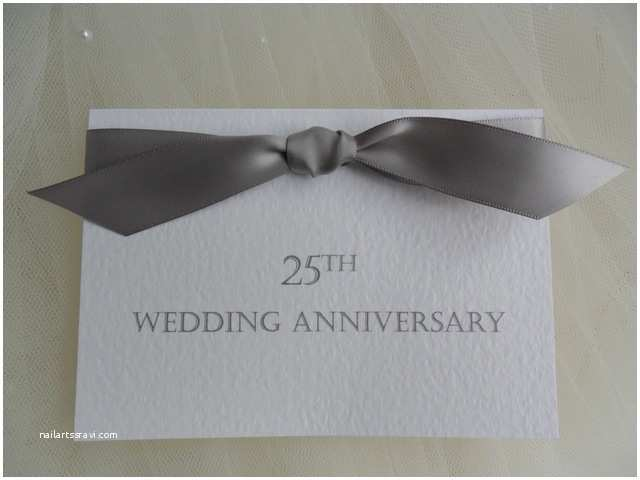 25th Wedding Anniversary Invitations From £1 25 Each top Ribbon Silver Wedd More Wording