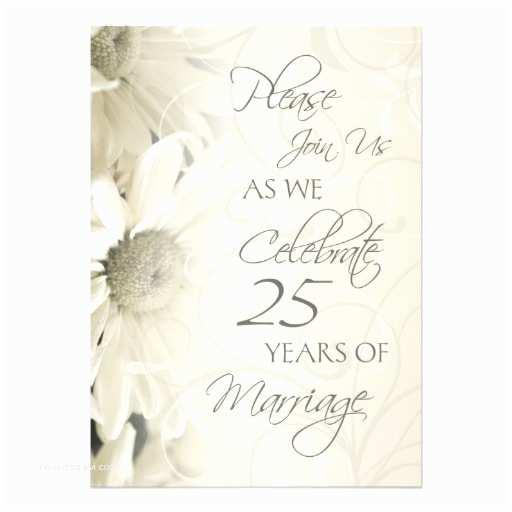 25th Wedding Anniversary Invitations White Flowers 25th Wedding Anniversary Invitations 13 Cm X