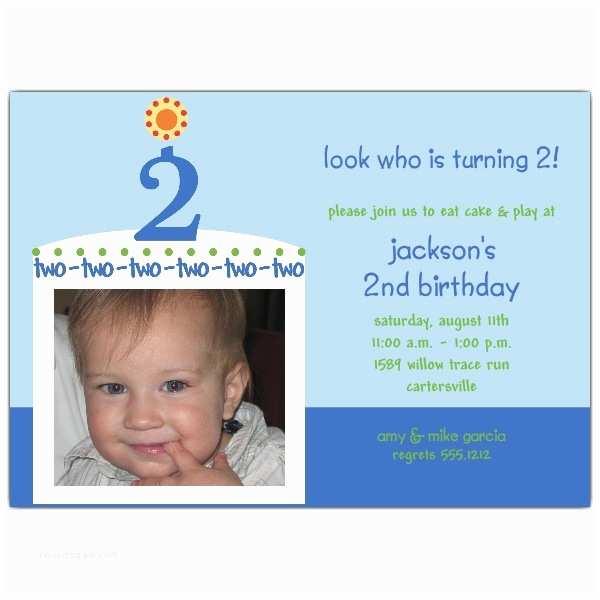 2nd Birthday Invitation Wording Birthday Cake Boy Second Birthday Invitations