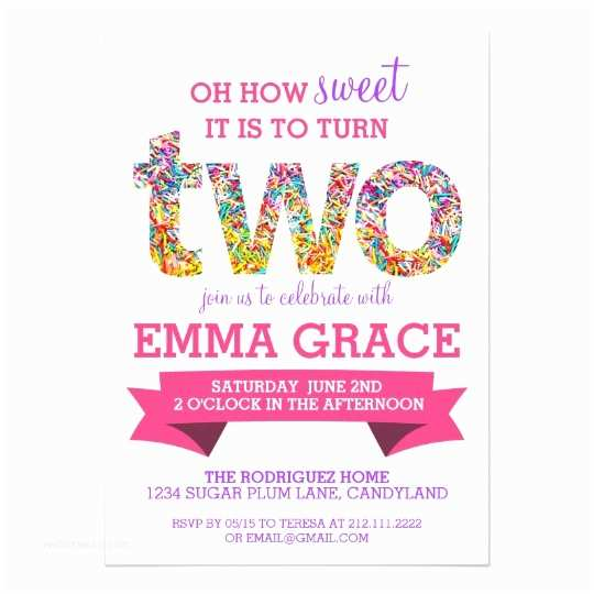 2nd Birthday Invitation Wording Candy Theme Party Sprinkles Invite