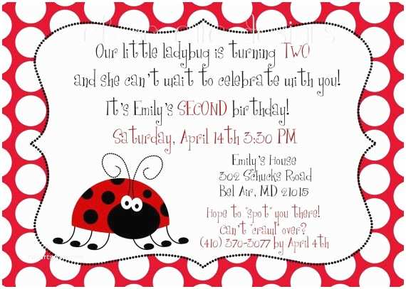 2nd Birthday Invitation Wording Ladybug Font Rsvp