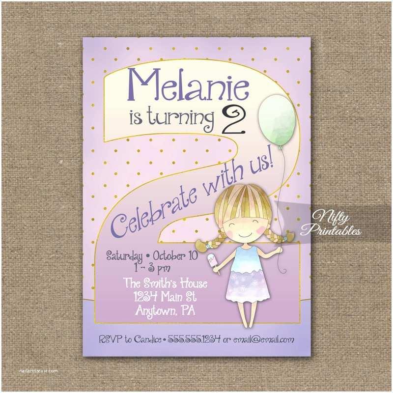 2nd Birthday Invitations 2nd Birthday Invitation Balloon Girl Birthday Invitation