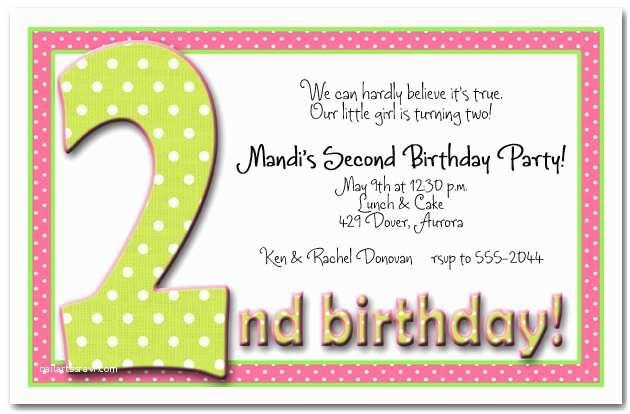 2nd Birthday Invitations Green & Pink Polka Dots Girl S 2nd Birthday Party Invitation