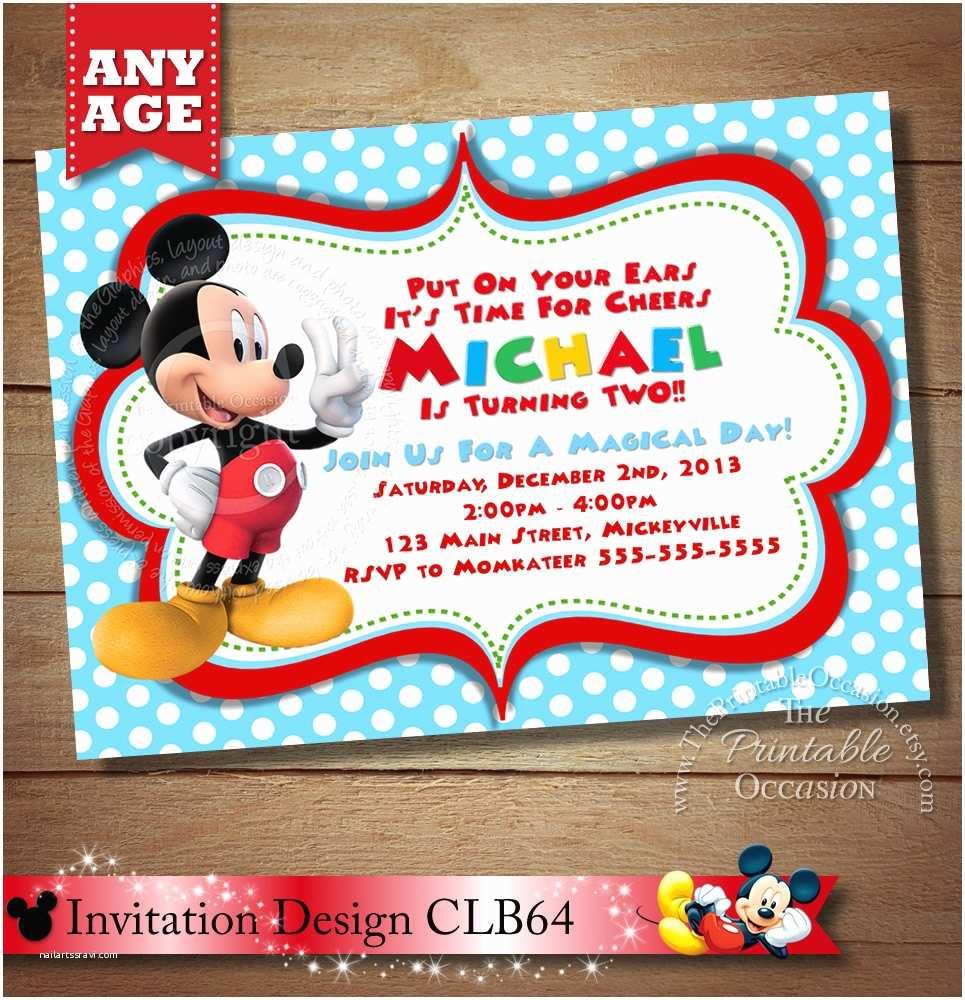 2nd Birthday Invitations Huge Selection Mickey Mouse Invitation Second Birthday Mickey