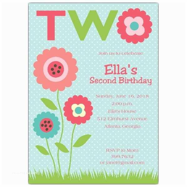 2nd Birthday Invitations My Garden 2nd Birthday Invitations