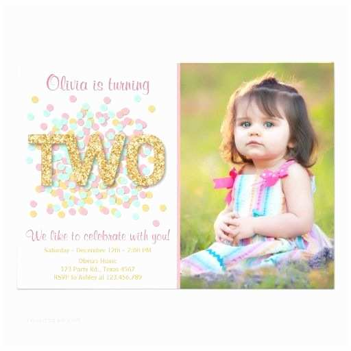 2nd Birthday Invitations Second Birthday Invitation Girl Pink Gold Mint Two