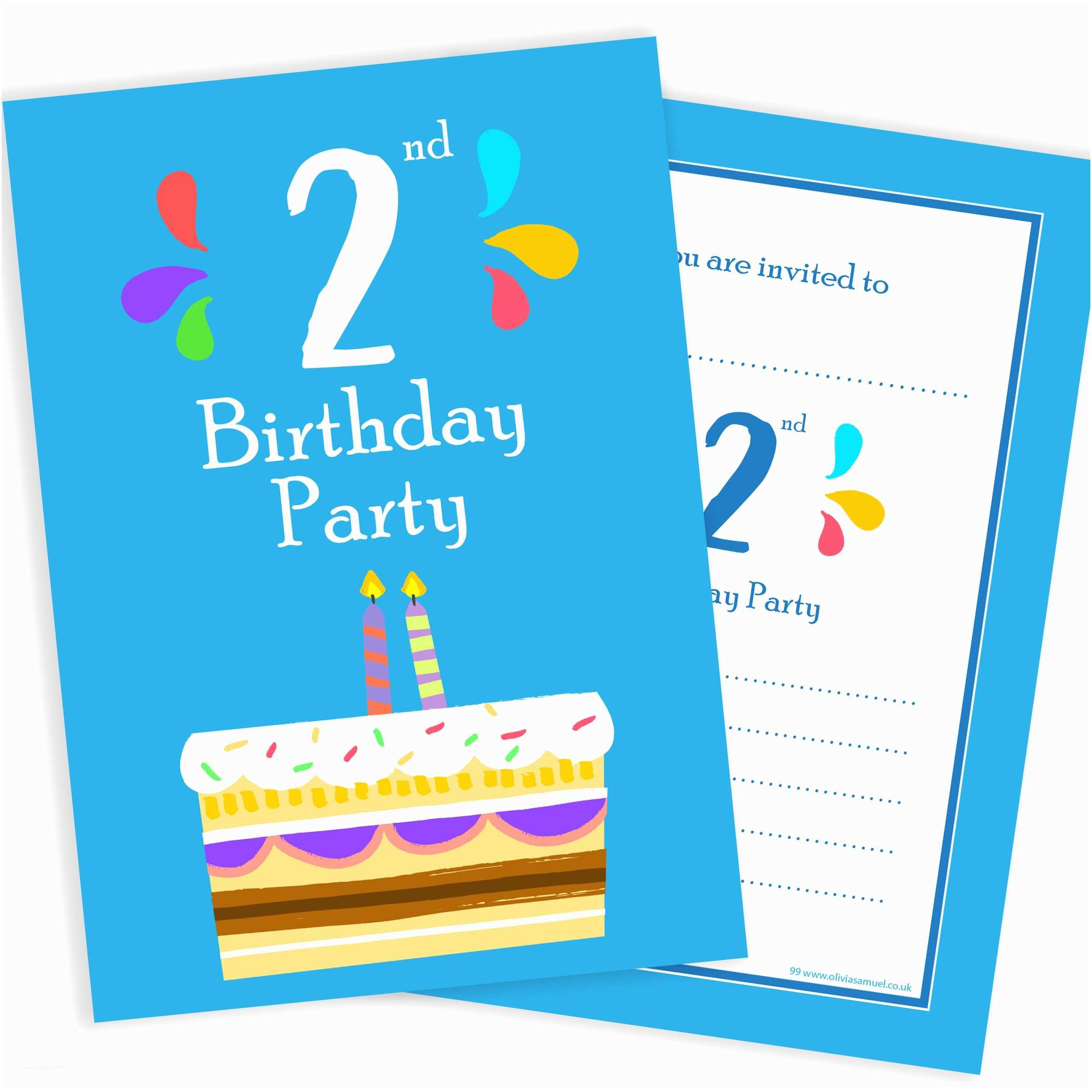 2nd Birthday Party Invitations 2nd Birthday Party Invitations – 2 Candle Blue Cake Design