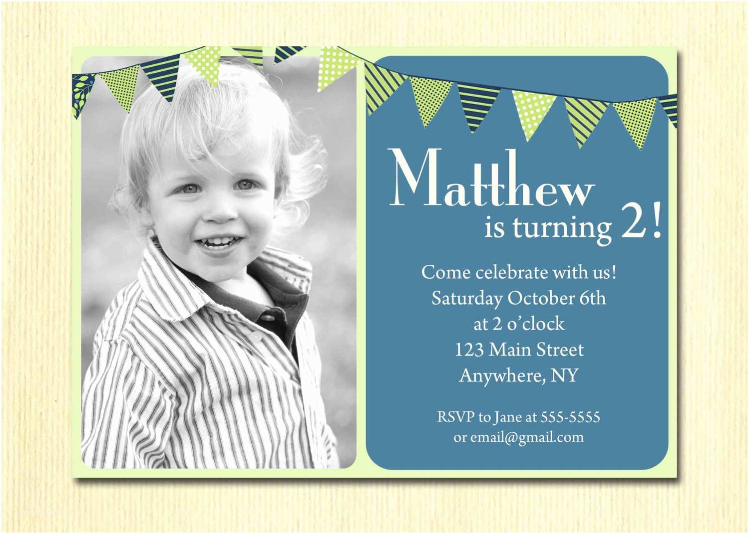 2nd Birthday Party Invitations First Baby Boy Invitation